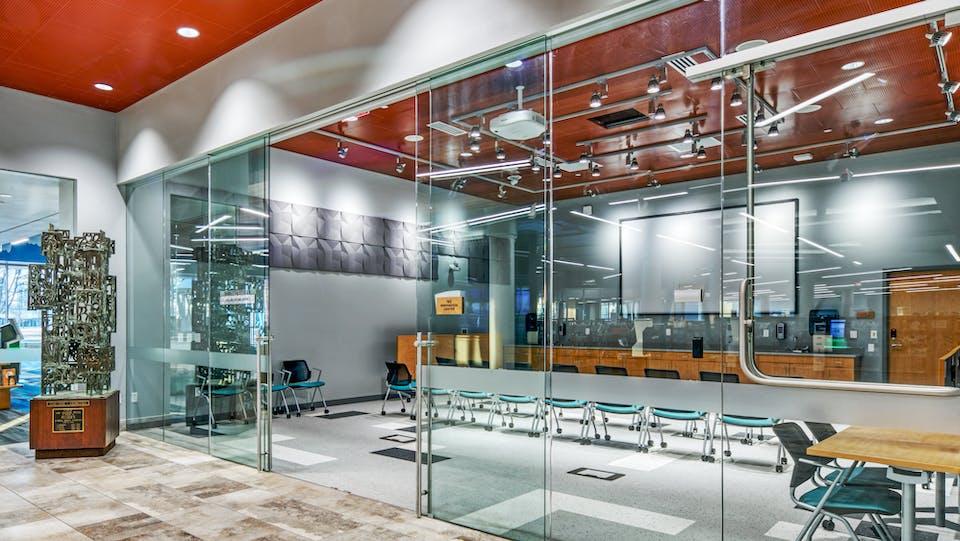 Featured products: Rockfon® Infinity™ Standard Perimeter Trim - Rockfon® Planostile™ Snap-in Metal Panel Ceiling System