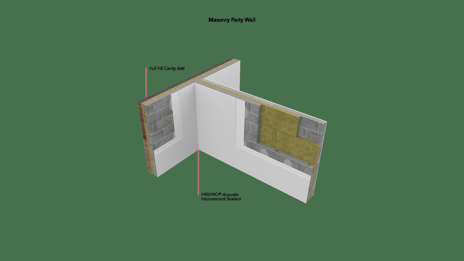 Masonry Party Wall - Full Fill Cavity Batt, Acoustic Intumescent Sealant