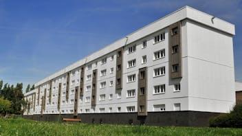 500 sqm of ETICS (Ecorock), 5000 spm of ventilated facade (Rockfacade) and 1.500 sqm of ROCKPANEL wood/white cladding, sole supplier. Square Pastour