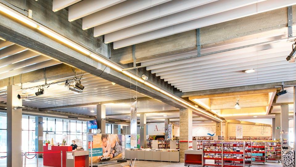 Acoustic ceiling solution: Rockfon® Universal™ Baffle, 4F, 1200 x 300
