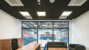 Meeting room in Mosir sports centre in Puławy Poland with Rockfon Color-all