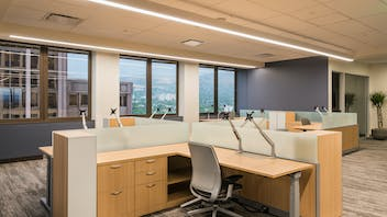 """NA, Intermountain Healthcare Corporate and Executive Offices, Koral SQ (A-Edge) 2x2 and 2x4, 1200 15/16"""" Exposed, Open Office, Office, AJC Architects, Renovation"""