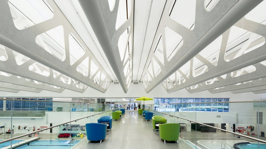 Guildford Aquatic Centre,Canada,Surrey,10405 m²,Bing Thom Architects,SHAPE Architecture,BKL Consultants,City of Surrey,StructureCraft Builders Inc./Heatherbrae Builders,Raef Grohne Architectural Photographer,ROCKFON Sonar,DMT-edge,1619x610,1523x610,white