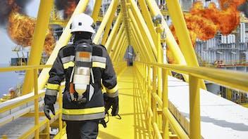 coatings, fireman, firefighter, walking, oil rig, fire, lapinus