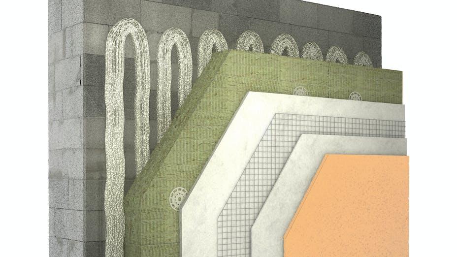 illustration, product, etics, stone wool, wall, facade, coverrock, germany