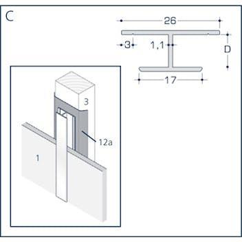 Profil C - Fugenprofil mit Schnittkantenüberdeckung