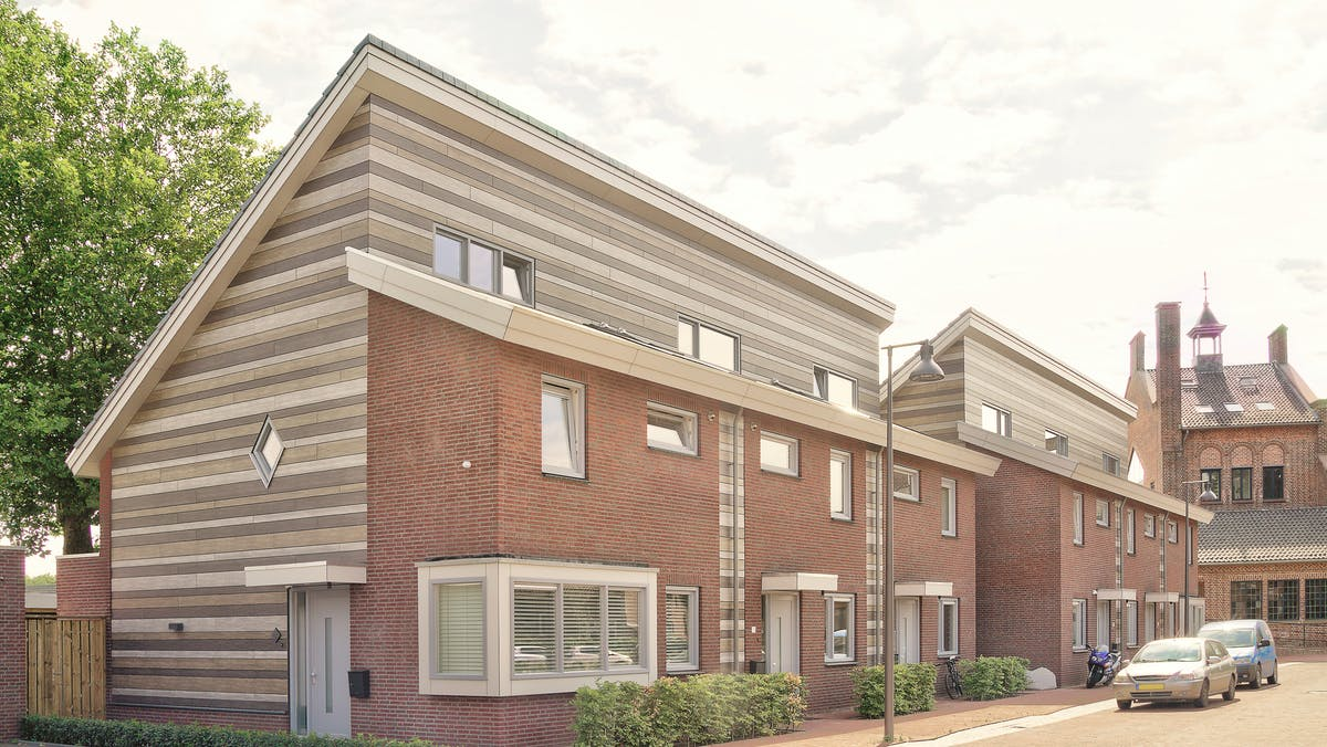 Houses in Wijbosch, Netherlands cladded with Rockpanel Woods facade cladding