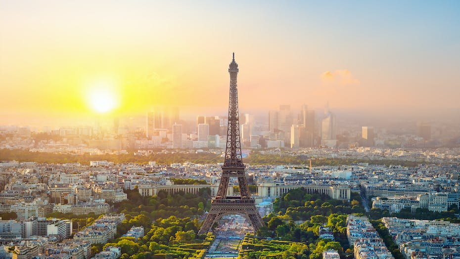 Paris and the Eiffel tower at sunset