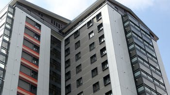 Refurbishment three high-rise residential towers, The Crofts in Birmingham, United Kingdom with Rockpanel Colours in FS-Xtra grade
