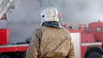 Health & Safety, Feuer, fire , fire truck, helmet, man, foam, Germany