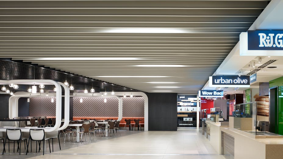 O'Hare International Airport's Terminal 5, Chicago Department of Aviation, CARE Plus LLC, Westfield Concession Management, Epstein, James McHugh Construction Co., Ornelas Construction Co., Reinke Supply Companies, Rockfon Intaline Round-Base metal baffles, Rockfon Magna T Cell, Rockfon Paired Infinity Trim