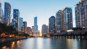 Chicago skyline at river