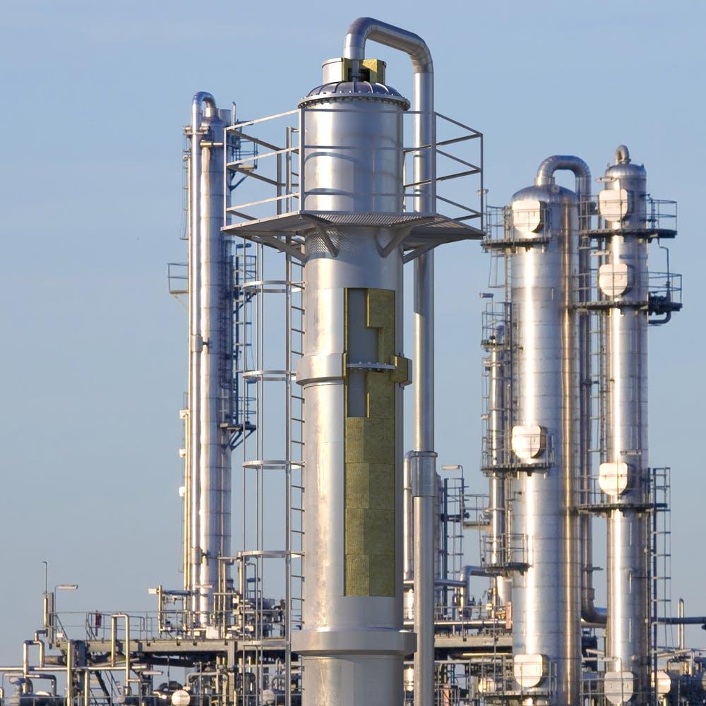 industrial, columns, vessels, 3d image
