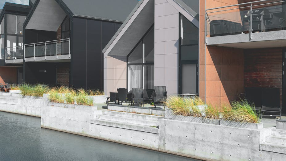 Rockpanel Case Study Langsand Langs Vand Rockpanel Natural, Rockpanel Colours RAL 9005 and RAL 0405005