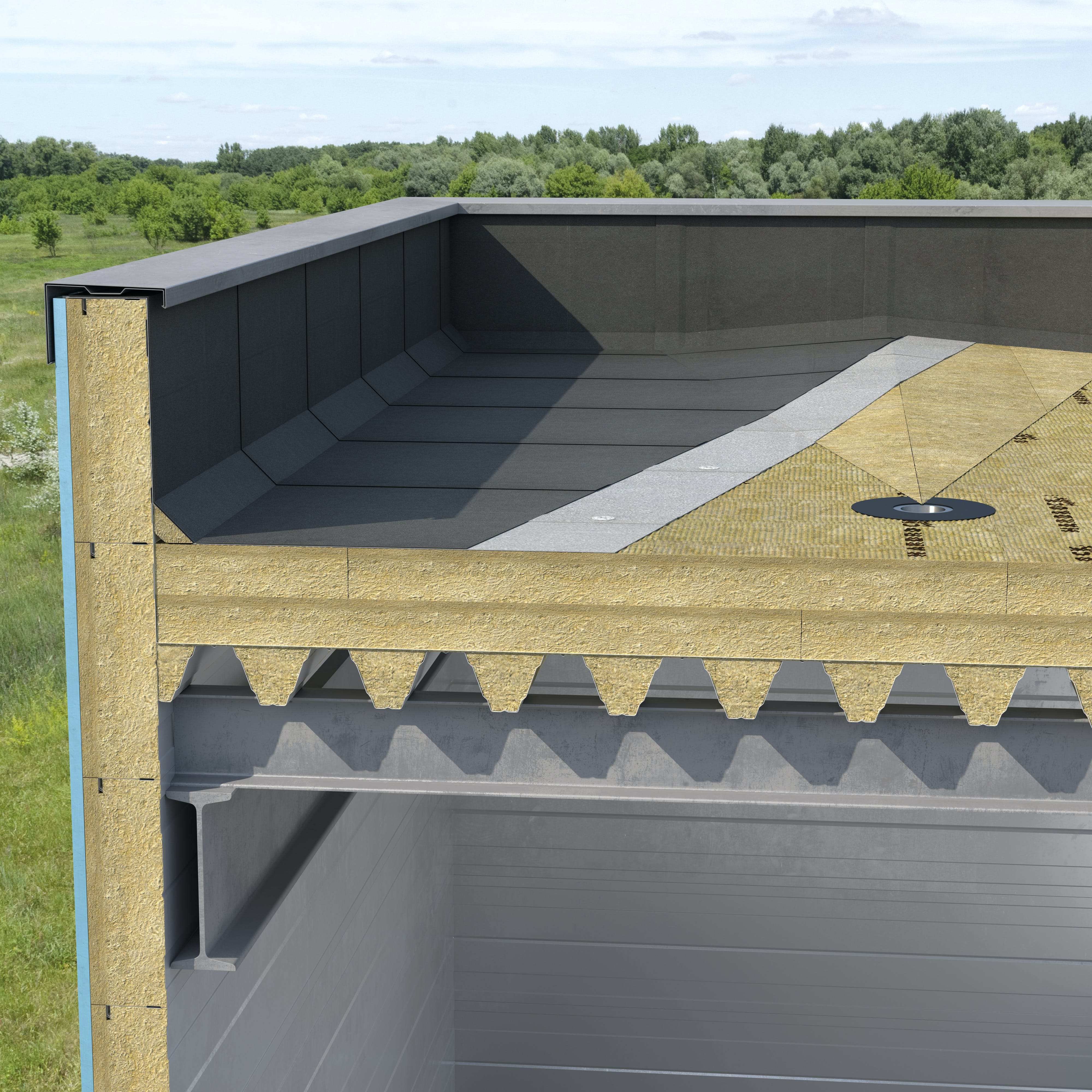 Steel deck, flat roof insulation, external insulation, acoustic fillers