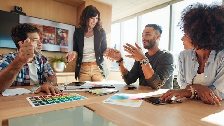 general illustration, people, meeting, meeting room