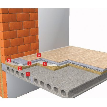 Soundproof floor with wet screed
