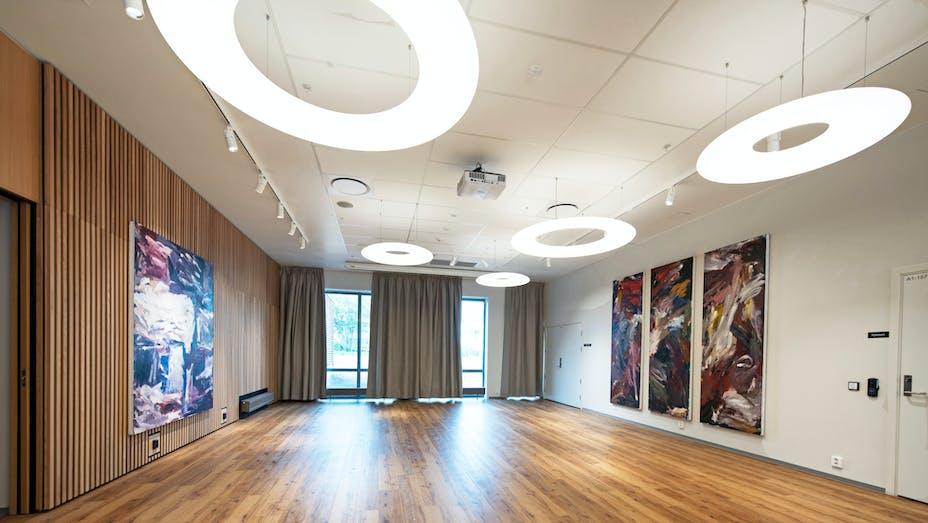 Meeting room/Auditorium in Carpe Diem Nursery Home in Gjettum Norway with Rockfon MediCare Standard in A-edge