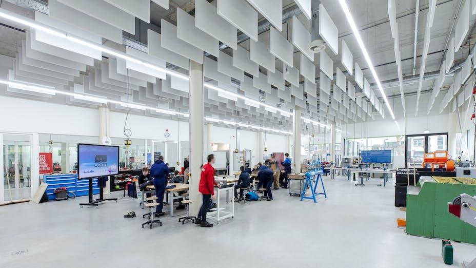 NL, Case study DaCapo College, Sittard, Povse en Timmermans Architecten en Ingeneurs, Education, Rockfon Contour, AC-edge, 1200x600x50, White, Light Industry