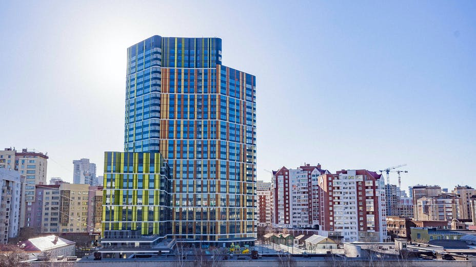 """""""Trinity"""" residential complex, insulation, Rockpanel, Yekaterinburg, Russia"""