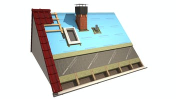 products, pitched roof, insulation above the rafters, insulation on the rafters, meisterdach, masterrock, rocktect, meditop, rocktect meditop, meditop variante, rendering, graphic, germany