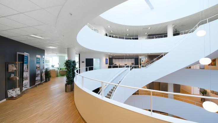 NCC Gladsaxe Company House,Denmark,Gladsaxe,8600 m²,Vilhelm Lauritzen Arkitekter A/S,NCC,DGNB Guld,Svend Christensen,ROCKFON Tropic,A15-edge,A24-edge,600x600,1200x600,white