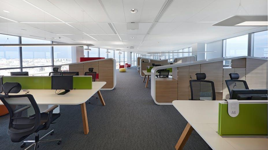 IT, BNL-BNP PARIBAS Roma Tiburtina, Atelier(s) Alfonso Femia (formerly 5+1AA), Office, Open Plan Office, Rockfon Ekla dB 40, D/AEX edge, 1200x600, white