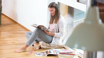 image, living, family, home, diy, woman reading, germany, job 5026