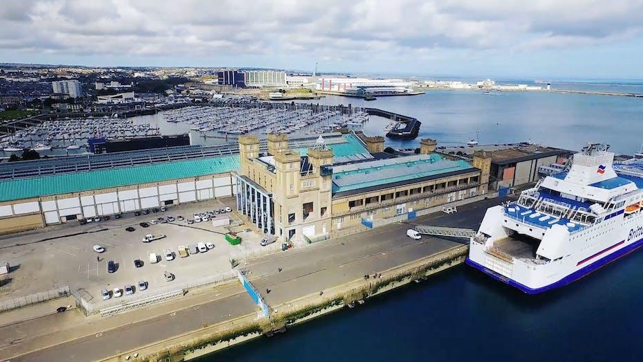 FR, Cherbourg Transatlantic Terminal Building, exterior shot, ferry, harbour, port