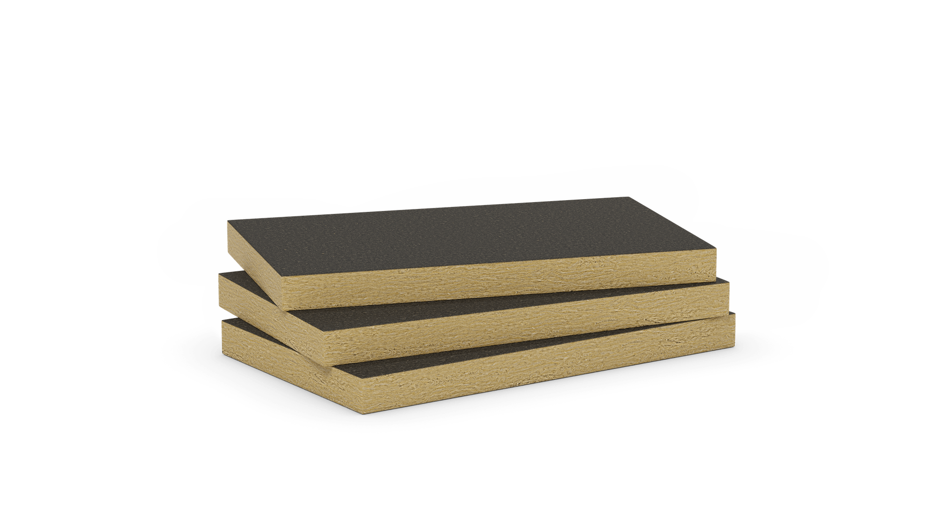 Mono density, mid-high density stone wool slab with black fleece. Products: Airrock ND FB1, Airrock LD FB1, Airrock XD FB1, Airrock HD FB1, Fixrock 033 VS