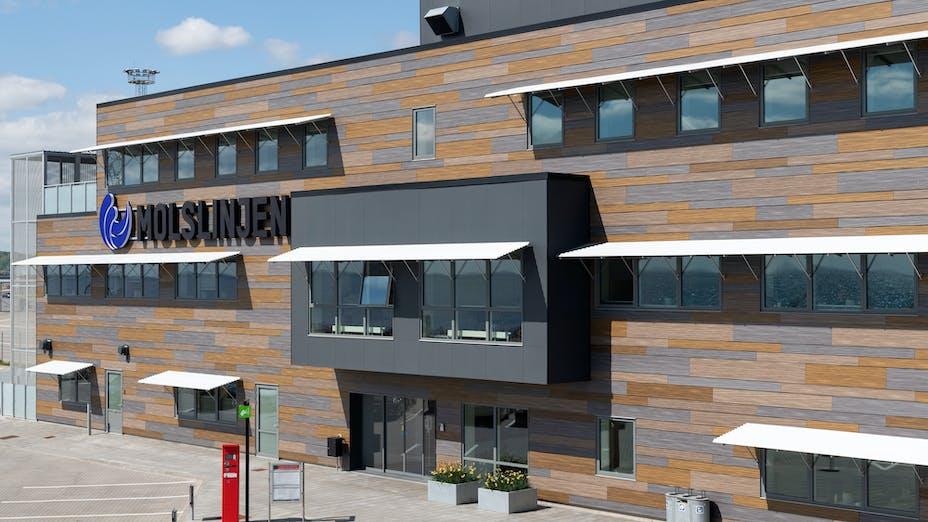 Rockpanel Case Study Molslinjen Aarhus Denmark Rockpanel Woods Ebony Granite Ebony Limestone Ebony Slate