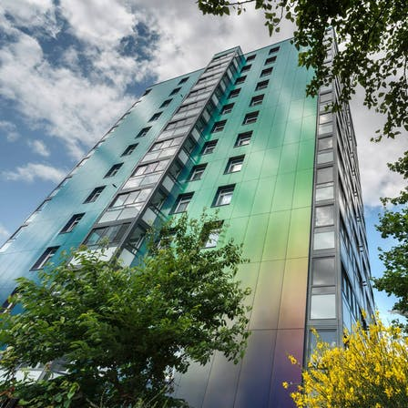 Collyhurst houses, Manchester, Rockpanel chameleon. Only B2 fire rated boards