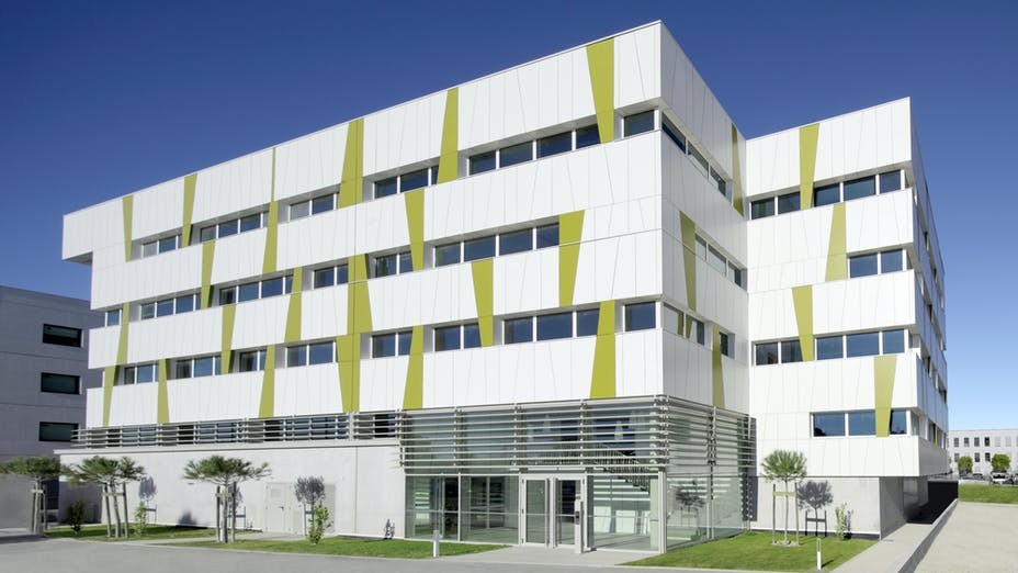 The Fahrenheit building in Montpellier, France with Rockpanel Colours exterior cladding