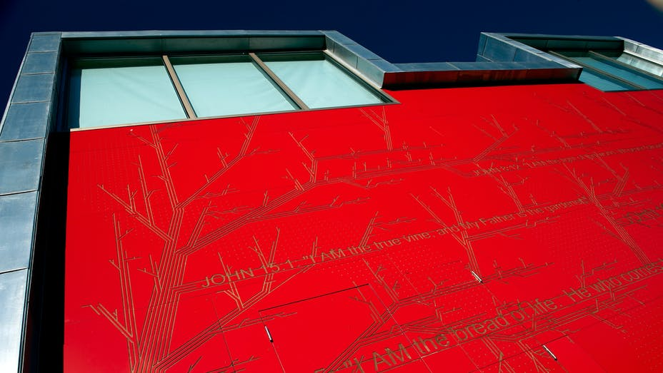 The new Salvation Army Church and Community centre in Chelmsford, Essex (United Kingdom) with Rockpanel Colours routed exterior cladding