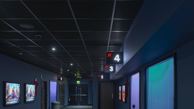 Cineworld, UK, Gloucester, Main Contractor - Brittania Construction, Ceiling Contractor - D & G Ceilings, Wayne Hutchinson, Rockfon Color-all, Charcoal