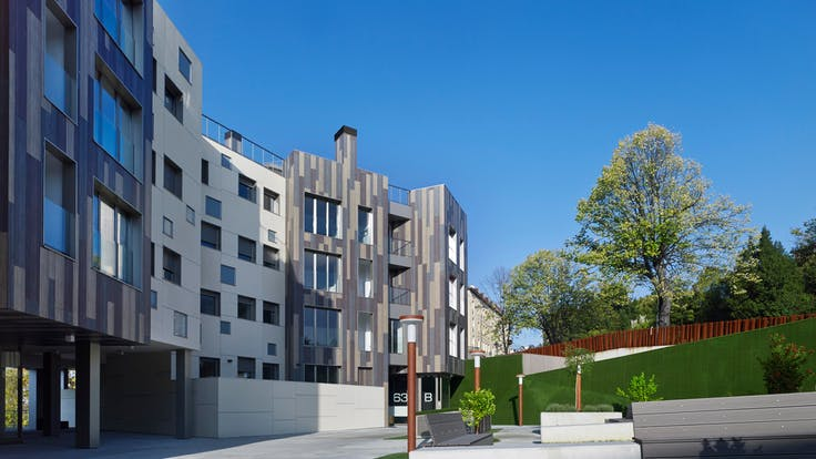 New build multi-unit housing in Bilbao, Spain  with Rockpanel Woods exterior and interior cladding