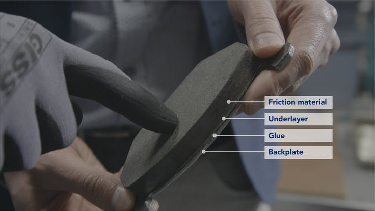 friction automotive brake pad underlayer material backplate detail