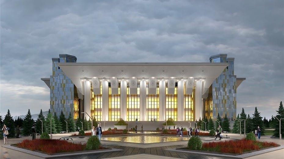 City, facade, Kazakhstan,  New Drama Theater, Nur-Sultan