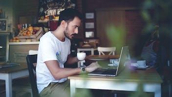 RockWorld imagery, Modern living, man, cafe, indoor,