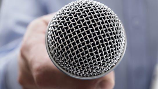 News, press release, microphone