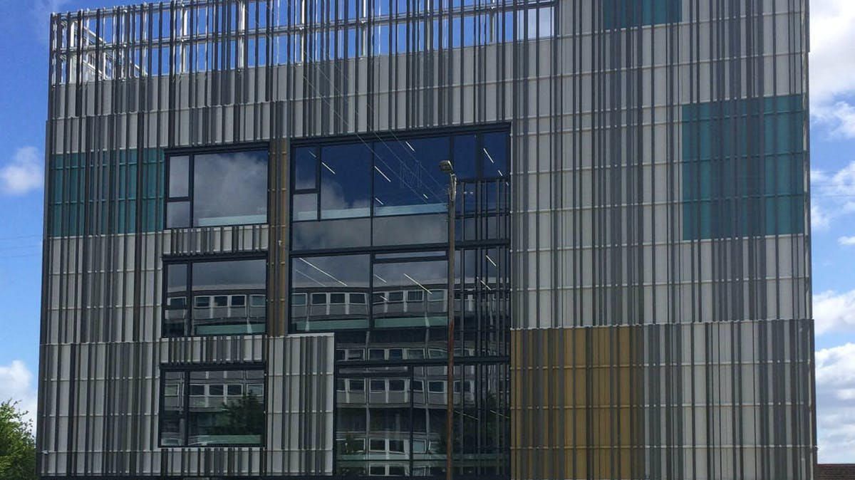 Vestegnen HF & VUC Building, educational institution Rødovre, Denmark cladded with Rockpanel Colours facade cladding.