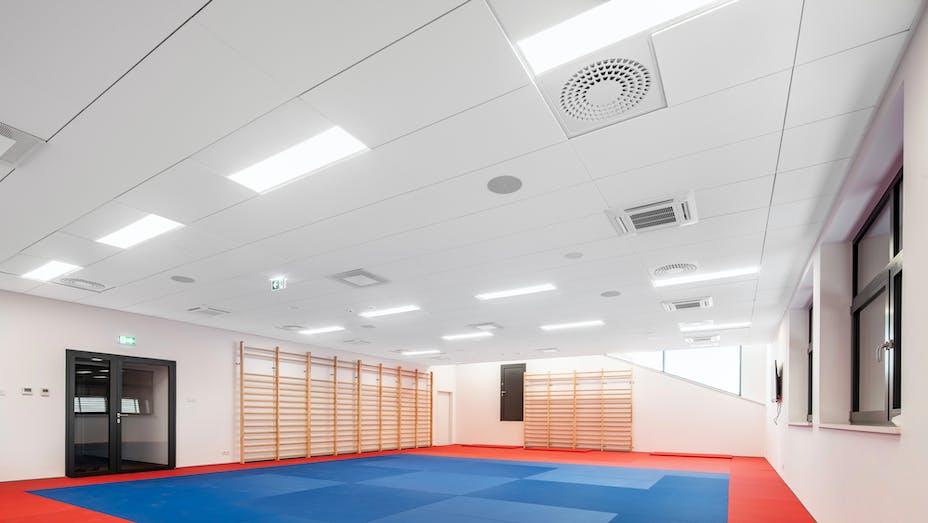 Sports hall in Mosir sports centre in Puławy Poland with Rockfon Blanka Z-edge