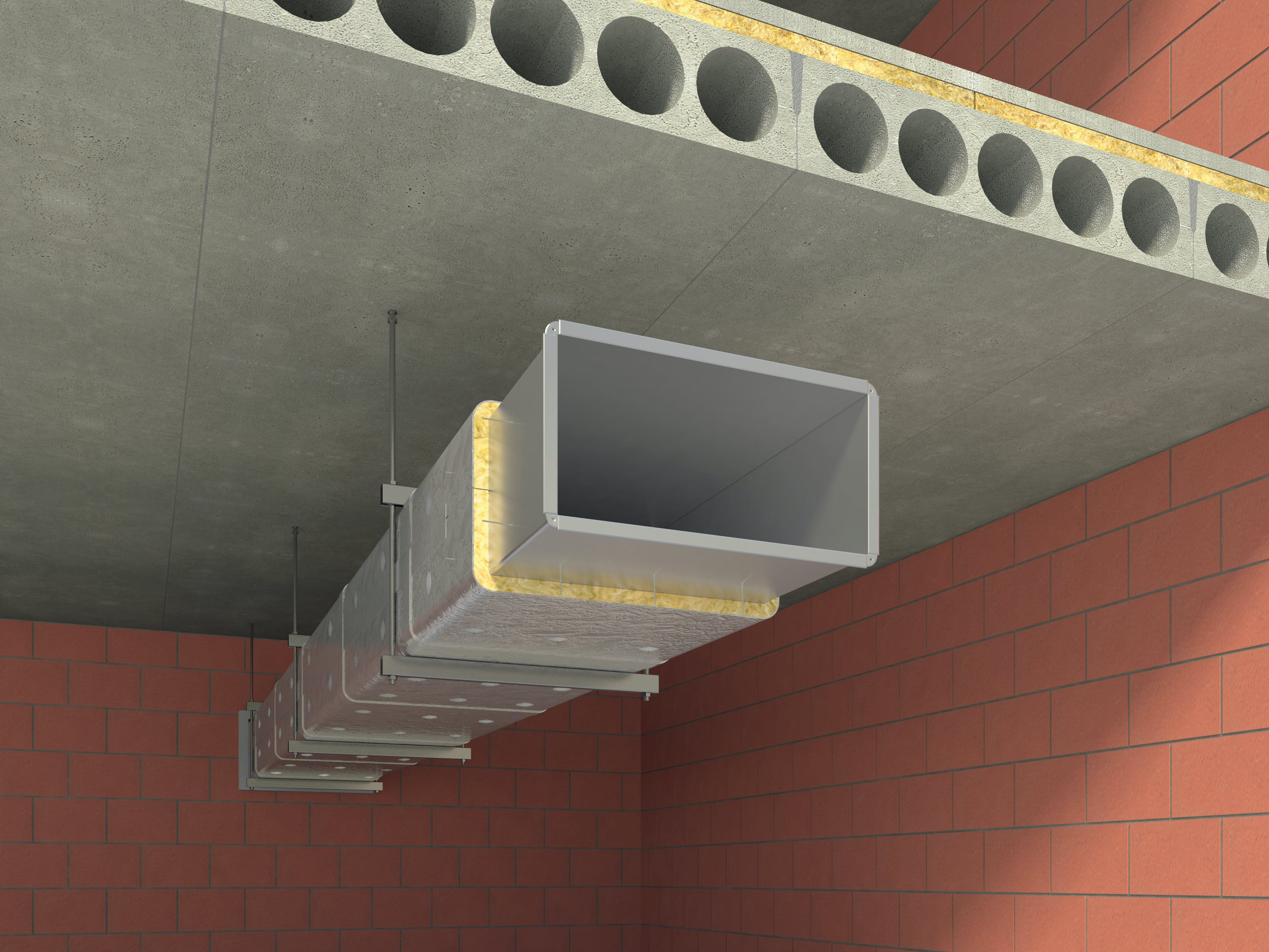 insulation of steel ventialion duct