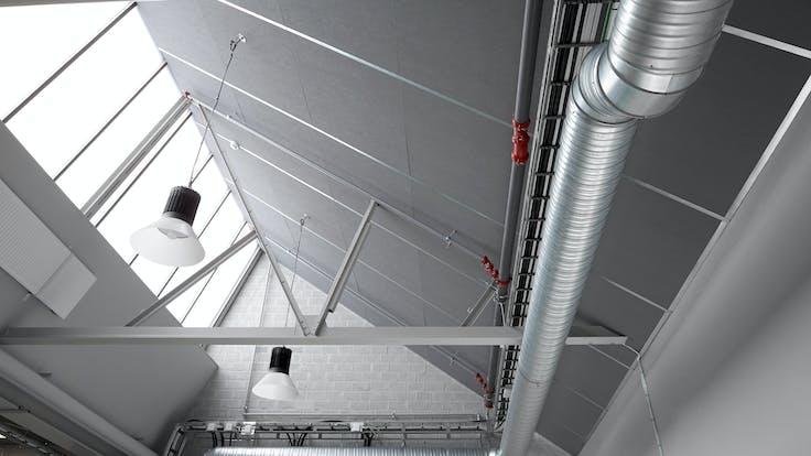 Parafon Buller ceiling in colour grey installed at Assar Innovation Centre in Skövde, Sweden.