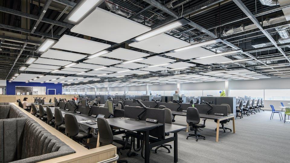 Acoustic ceiling solution: Rockfon Eclipse®, A, 1160 x 1160