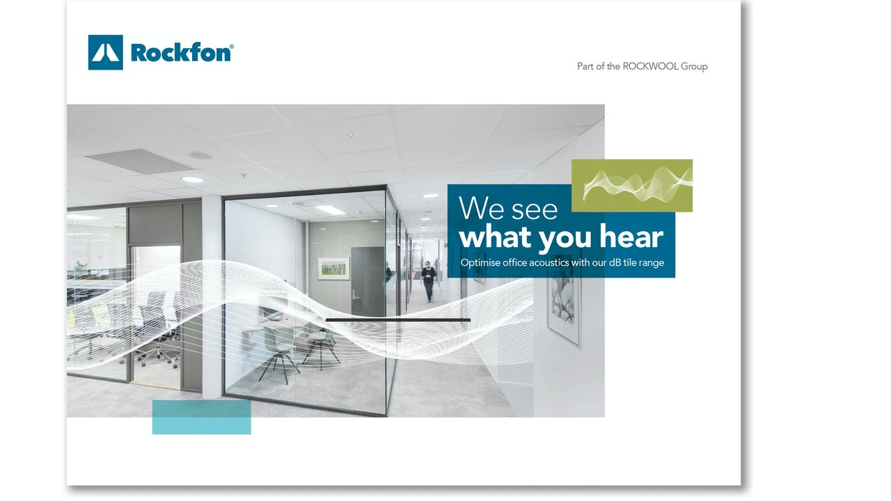 campaign illustration, dB campaign, dB range,  office, sound wave, sound insulation, sound absorption, brochure cover, dB brochure, UK