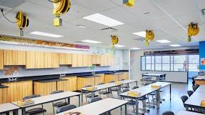 Salina Central High School, Jones Gillam Renz, DLR Group, school, education, grid, suspension, stone wool, panels, tiles, 1200 seismic, artic, infinity trim, classroom, laboratory