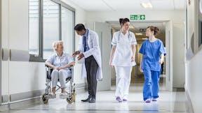 Hospital corridor, patients, hospital staff