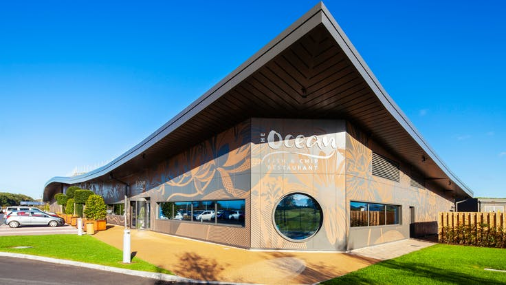 The Flower Bowl Entertainment Centre in Preston, United Kingdom cladded with Rockpanel Colours and Stones facade cladding