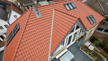 press, pharmacy, germany, roof, fireproof, Meisterdach, presse, Haltern, Apotheke, renovation, fire damage, pitched roof